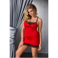 (SALE) Сорочка приталенная EVANE CHEMISE red 4XL/5XL - Passion, трусики, с кружевом