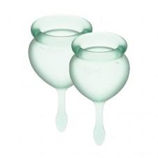 Набор менструальных чаш Satisfyer Feel Good (light green), 15мл и 20мл, мешочек для хранения