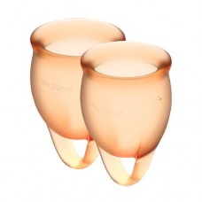 Набор менструальных чаш Satisfyer Feel Confident (orange), 15мл и 20мл, мешочек для хранения