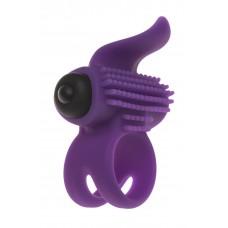 Эрекционное виброкольцо Adrien Lastic Bullet Lastic Ring с язычком и щеточкой для стимуляции клитора